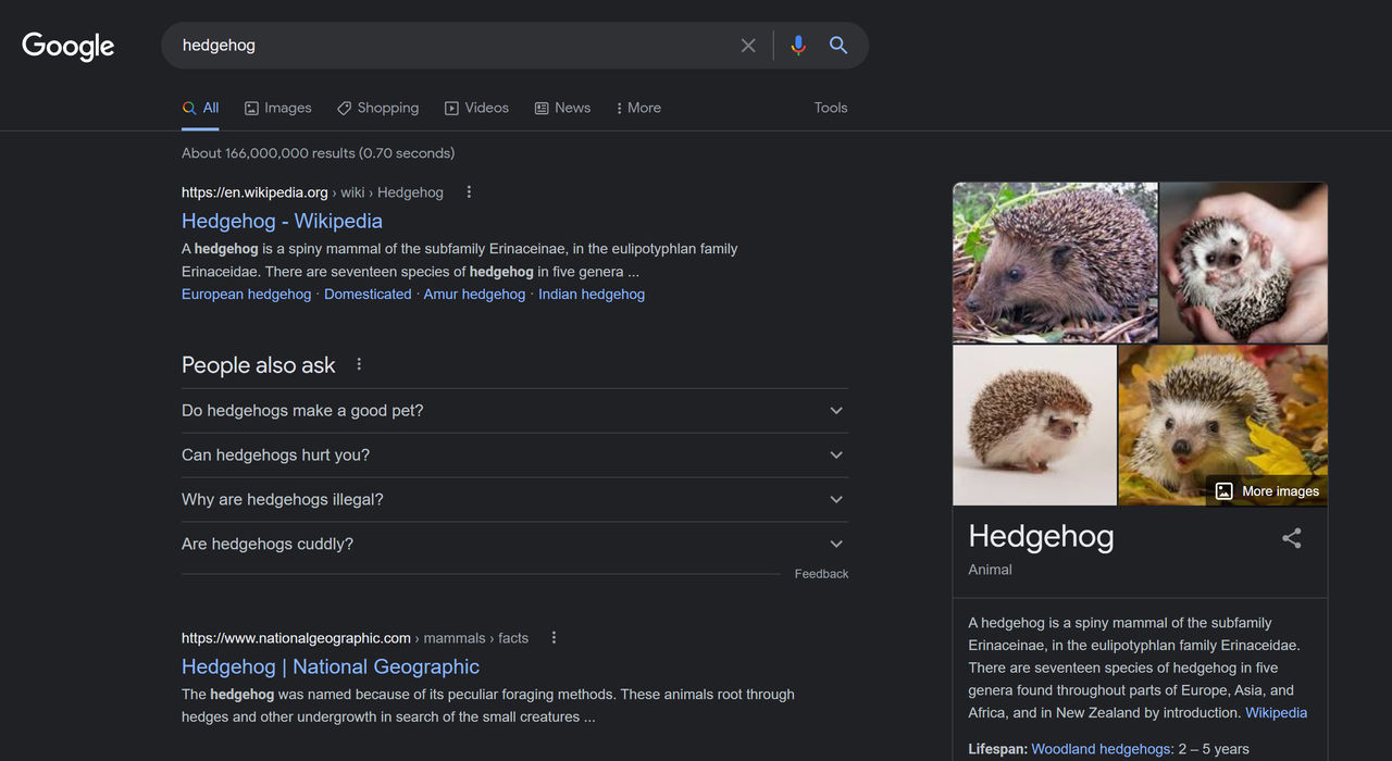 Google sök har fått mörkerläge