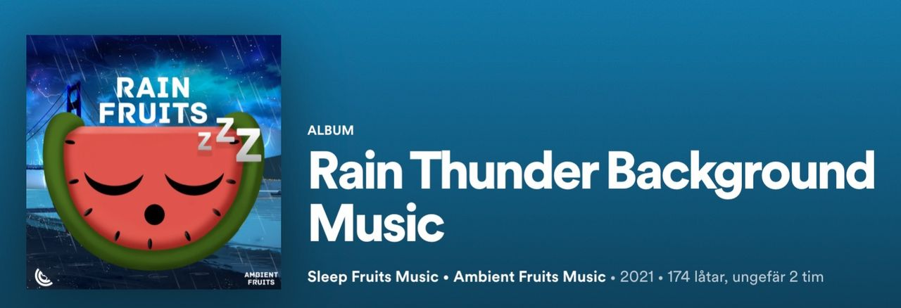 Regnmusik verkar vara väldigt populärt på Spotify