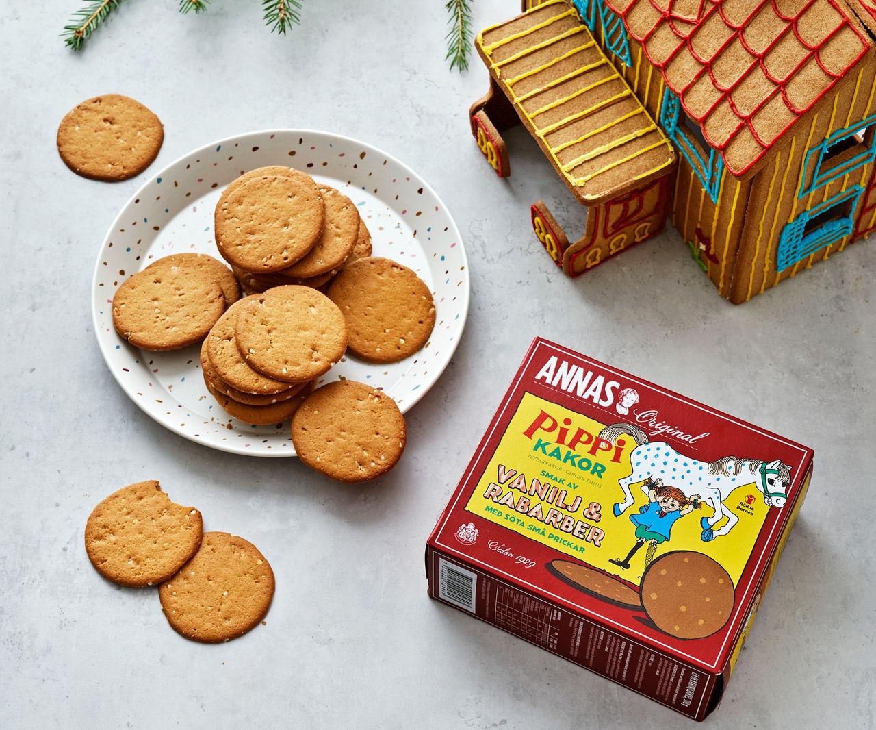 Pippi-pepparkakor med rabarber och vanilj