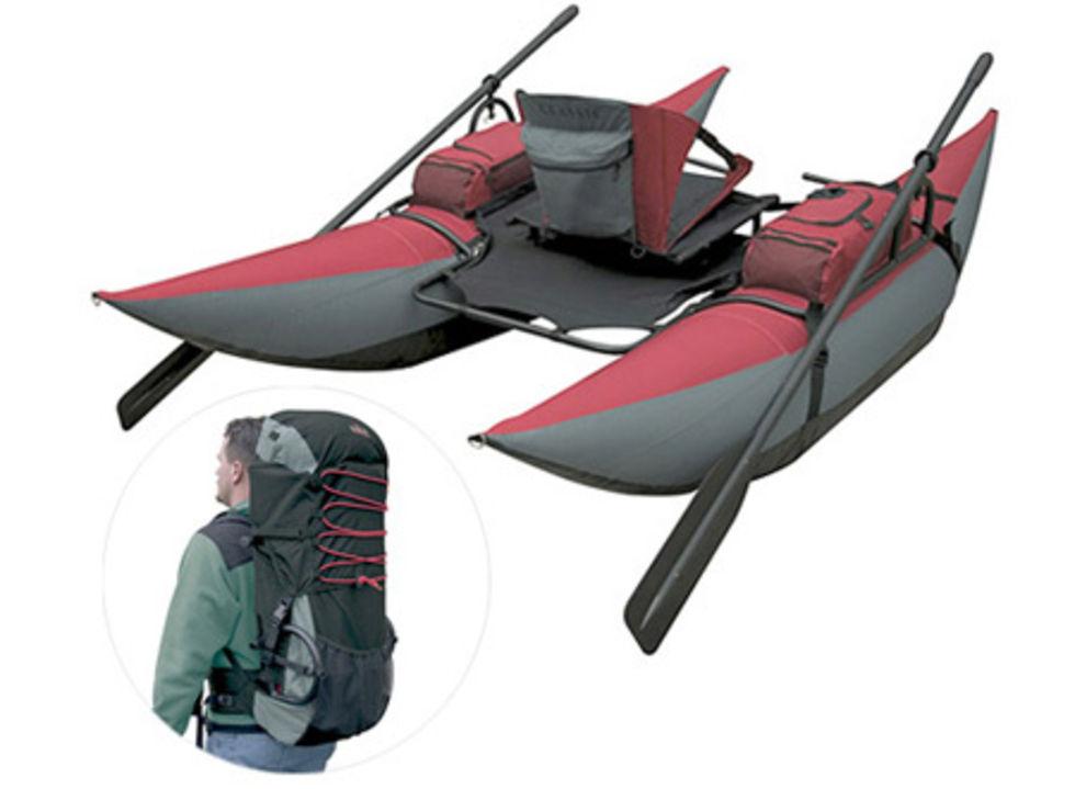 Pontonbåt i en ryggsäck