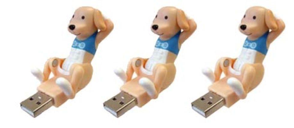 USB-hund som gör sit-ups